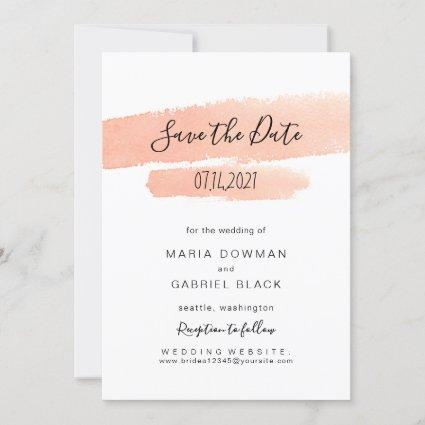 Elegant brush stroke. Modern simple pink Wedding Save The Date