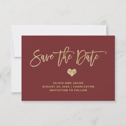 Elegant Burgundy and Gold with Heart Save The Date