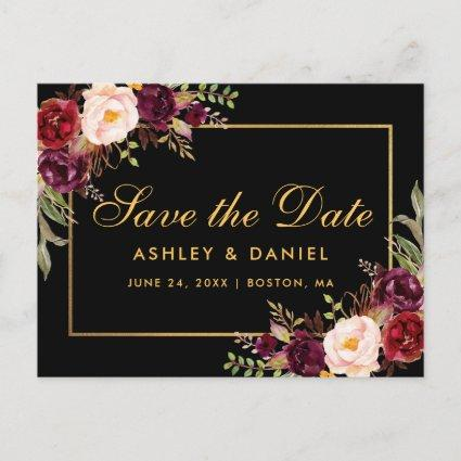 Elegant Burgundy Floral Black Gold Save The Date Announcement