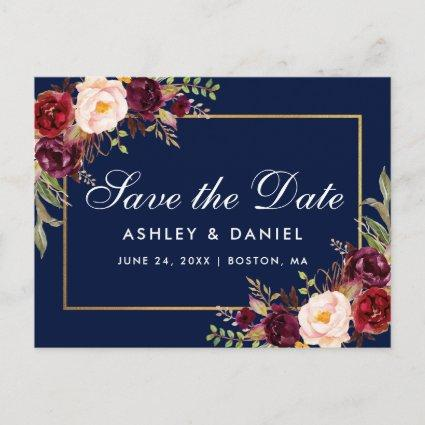 Elegant Burgundy Floral Gold Blue Save The Date Announcement