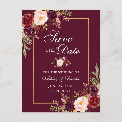 Elegant Burgundy Floral Save the Date Gold Announcement