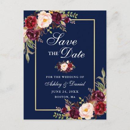 Elegant Burgundy Floral Save the Date Gold Blue Announcement