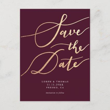 Elegant Burgundy Gold Script Wedding Save the Date Announcement