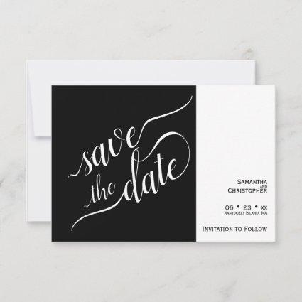 Elegant Calligraphy Minimalist Black Wedding Save The Date