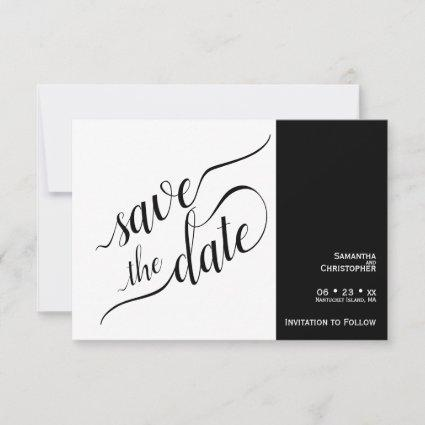 Elegant Calligraphy Minimalist White Wedding Save The Date