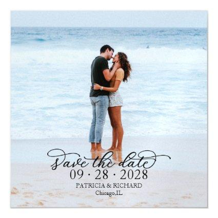 Elegant Calligraphy Photo Save The Date Magnetic Invitation