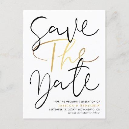 Elegant Calligraphy Photo Wedding Save The Date Announcement