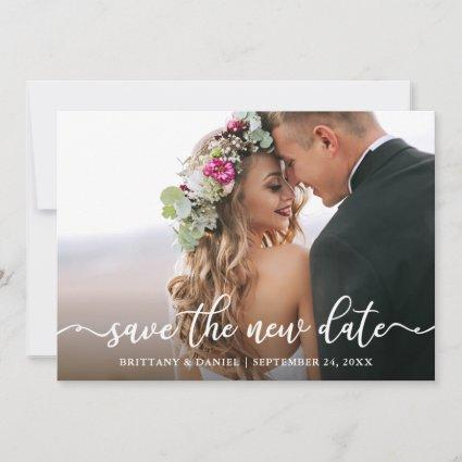 Elegant Calligraphy Save The New Date Card