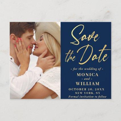 Elegant Calligraphy Wedding PHOTO Save the Date Announcement