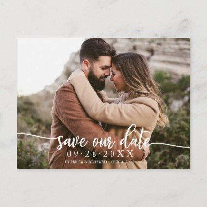Elegant Calligraphy Wedding Save Our Date Photo