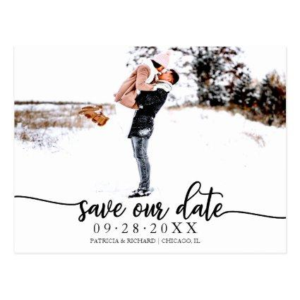 Elegant Calligraphy Wedding Save The Date Photo