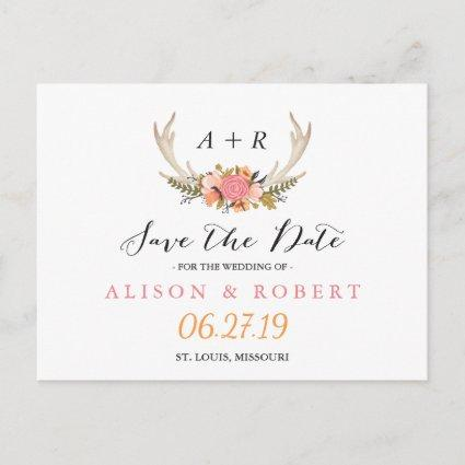 Elegant Chic Floral White Antler Save the Date Announcement