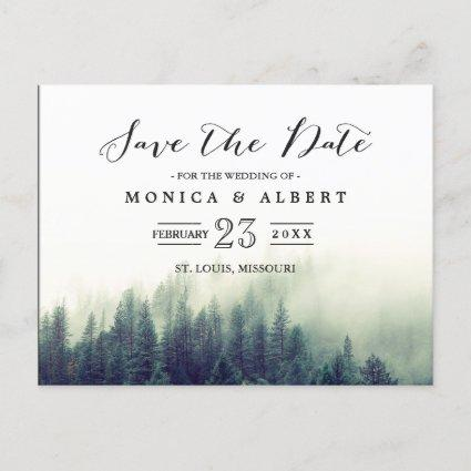 Elegant Chic Pine Trees Forest Save the Date Announcement