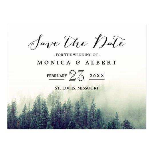 Elegant Chic Pine Trees Forest Save the Date Cards