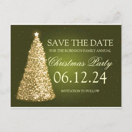 Elegant Christmas Party Save The Date Gold Green Announcement
