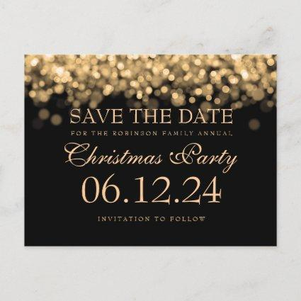 Elegant Christmas Party Save The Date Gold Lights Announcement
