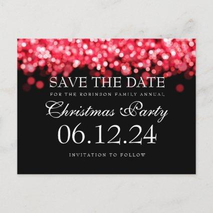 Elegant Christmas Party Save The Date Red Lights Announcement
