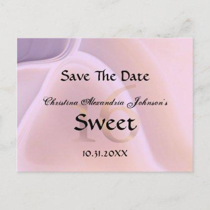Elegant Crystal Pink Sweet 16 Save The Date Announcement