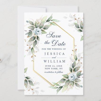Elegant Dusty Blue Flowers Greenery Wedding Save The Date