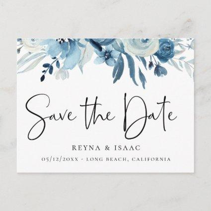 Elegant Dusty Blue Navy Floral Save the Date Announcement