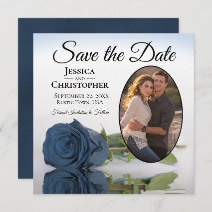 Elegant Dusty Blue Rose Oval Photo Wedding Save Th Save The Date