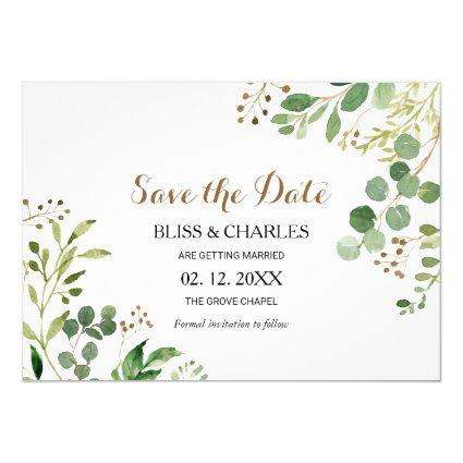 Elegant Eucalyptus Greenery Wedding Save the Date Invitation