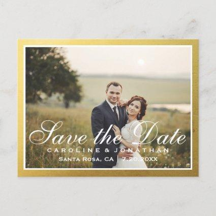 Elegant Faux Gold Script Save The Date with Photo Announcements Cards