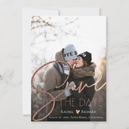 Elegant Faux Rose Gold Wedding Photo Save The Date