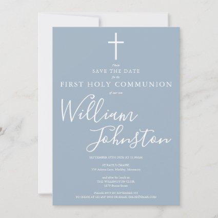 Elegant First Holy Communion Dusty Blue Save The Date