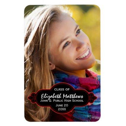 Elegant Fleur 2018 Photo Graduation - Black Red Magnets