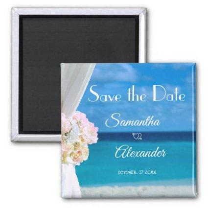 Elegant Floral Blue Ocean Beach  Magnets
