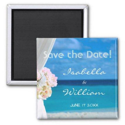 Elegant Floral Blue Ocean Beach Save the Date Magnet
