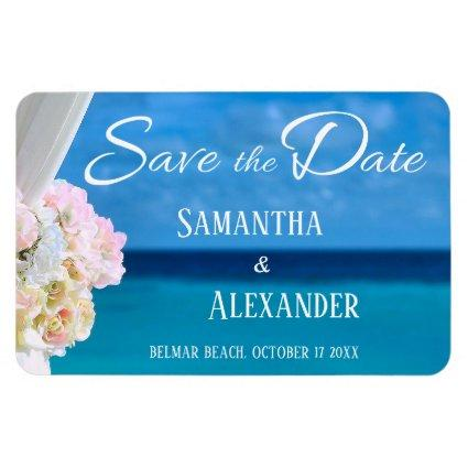 Elegant Floral Blue Ocean Beach Save the Date Magnets