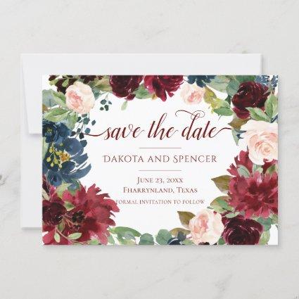 Elegant Floral | Burgundy Geometric Wreath Wedding Save The Date