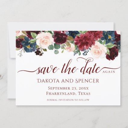 Elegant Floral | Burgundy Marsala Red Rescheduled Save The Date