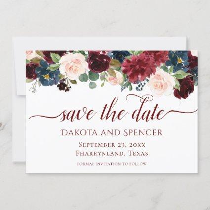 Elegant Floral | Burgundy Marsala Red Wedding Save The Date