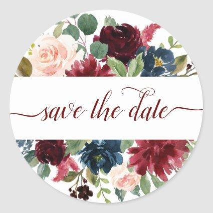 Elegant Floral | Burgundy Marsala Save the Date Classic Round Sticker