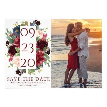 Elegant Floral | Burgundy Marsala Save the Date Magnetic Invitation
