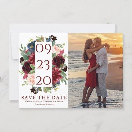Elegant Floral | Burgundy Red Navy Blue Photo Save The Date