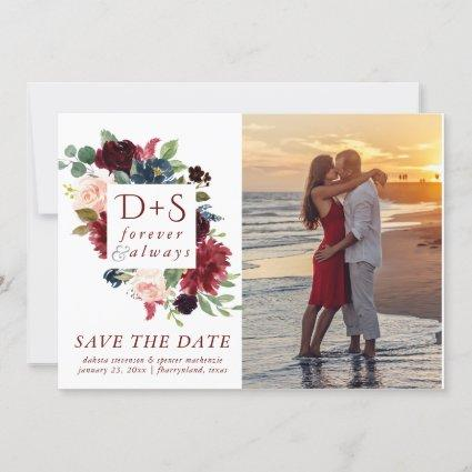 Elegant Floral | Burgundy Red Navy Monogram Photo Save The Date