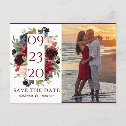 Elegant Floral | Burgundy Red Photo Save the Date Announcement