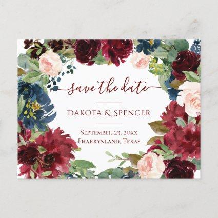 Elegant Floral | Burgundy Red Wreath Save the Date Announcement
