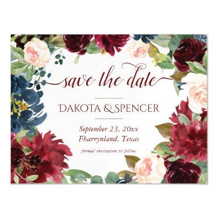 Elegant Floral | Burgundy Red Wreath Save the Date Magnetic Invitation