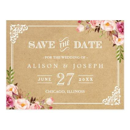 Elegant Floral Frame Kraft Wedding