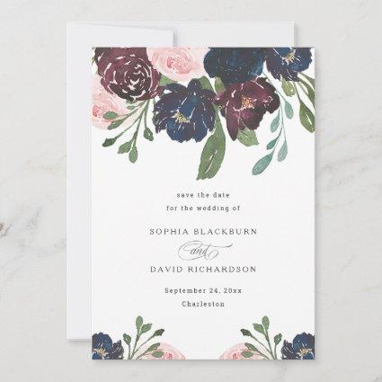 Elegant Floral Navy Blue and Plum | Wedding Save The Date
