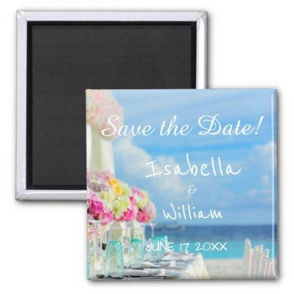 Elegant Floral Ocean Beach Summer Save the Date Magnets
