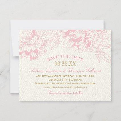 Elegant Floral Peony Wedding Pink Gold Save The Date