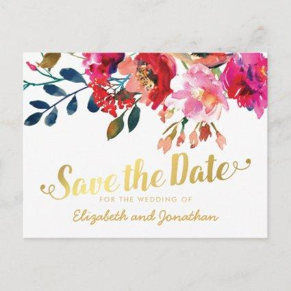 Elegant Floral Watercolor White Gold Save the Date Announcement