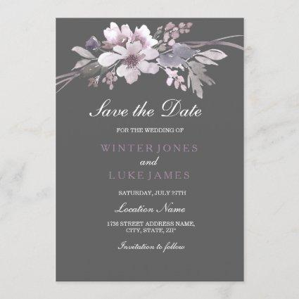 Elegant Floral Winter Gray Save The Date Card