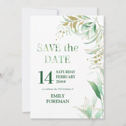 Elegant Foliage Green Gold Watercolor and Glitter Save The Date